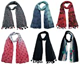 #3: Printed Designer Poly Cotton Set of 6 Mullticoloured stoles ; Trendy scarf stoles dupatta for Girls/Ladies/Women (F0152)