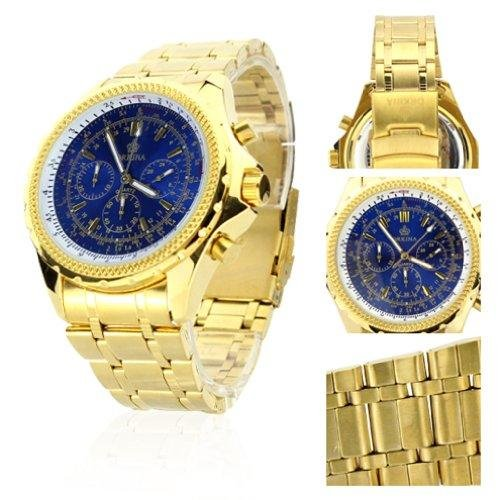 orkina blue 6 hands dial gold color stainless steel wrist watch po004sgblu