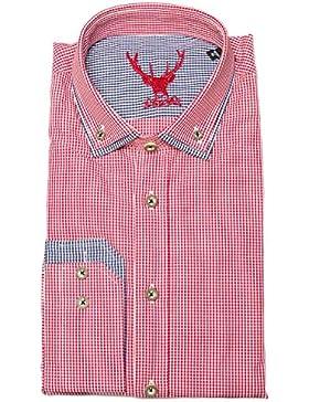 Pure Trachtenhemd Herren langarm B22620-11598 36 rotkariert