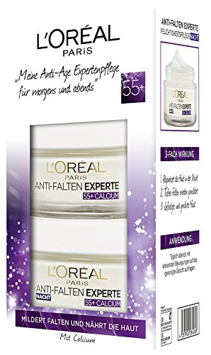 L'Oréal Paris Falten Gesichtscreme Set, Tag und Nacht Gesichtspflege Geschenkset, Anti Falten Experte 55+ für Damen -