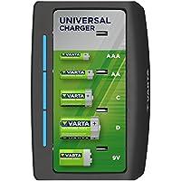 VARTA Universal Charger - Cargador de Pilas Recargables AA/AAA/C/D y 9 V