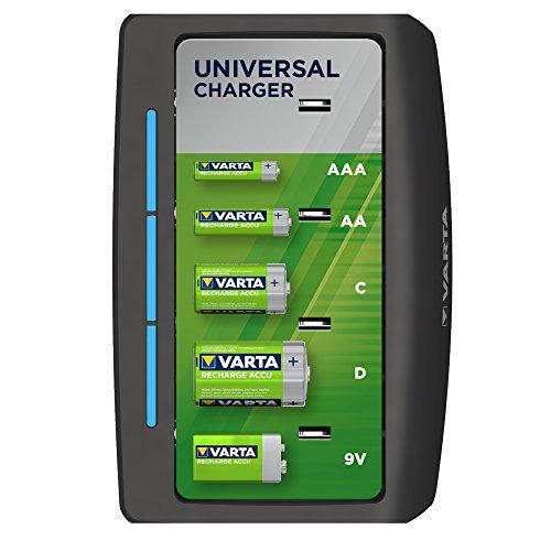 Varta Caricatore Universale per AA/AAA/C/D/9V, Senza Pile