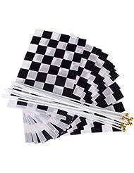 LEORX 12pcs damier Racing bannières main en agitant drapeaux (noir + blanc)