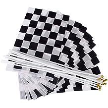 Nuolux - 12 banderas de cuadros para carreras, color negro y blanco