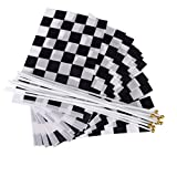 NUOLUX 12pcs Racing Flag Handheld Flag Chequered Flag (Black White)