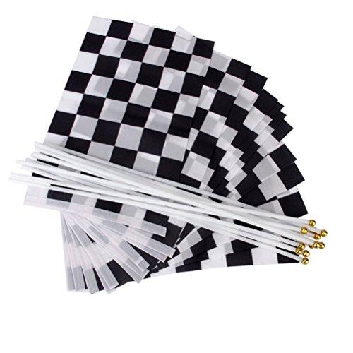 Checkered Flag Stick (VORCOOL Racing Flag Schwarz Weiß Checkered Flag Hand Stick Flag Pack von 12)