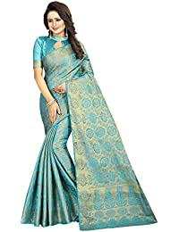 SATYAM WEAVES WOMEN'S ETHNIC WEAR JARI BORDERED BANARSI COTTON SILK RAMA COLOUR SAREE.