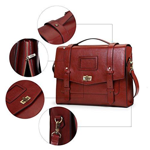ECOSUSI Borsa Messenger Vintage Donna Borsa a Tracolla per Lavoro Shopping Scuola Rosso