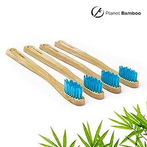 ♻ Planet Bamboo ♻ Bambus Zahnbürste im 4er-Sparset für Kinder (Blau | Medium-Soft), schmaler Griff für Kinderhände, Natur-Zahnbürste in geschmackvoller Panda Verpackung