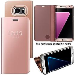 Guran® Effet Miroir Housse en Cuir PU pour Samsung Galaxy S7 Edge, Haute qualité Clear View Smartphone Flip Cover et Fonction Stent Étui pour téléphone (Or Rose)