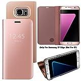Guran Mirror Efecto Espejo Funda para Samsung Galaxy S7 Edge Clear View Función de Soporte Plegable Smartphone Funda Protectora (Oro Rosa)