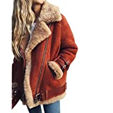 Utop Damen Winter warm Elegant Kunstfellkragen Wildleder Optik Bikerjacke Coat Mantel Motorradjacke Fleece Outwear Jacke Parka Mit Taschen