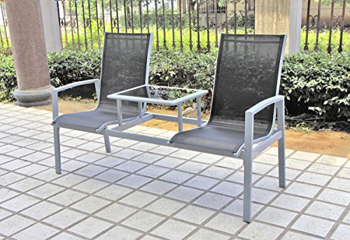 VARILANDO Doppel-Sessel 'Roberto' aus Aluminium und Stahl mit Textilene Doppel-Sitz Garten-Sessel Gartenstuhl Gartenbank 2-Sitzer