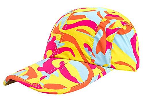 AIEOE Unisex Quick Dry Tragbare UV Sun Hat Sommer Camouflage Baseball Cap mit Faltbar Bill, Unisex, Orange - Orange Camouflage Cap
