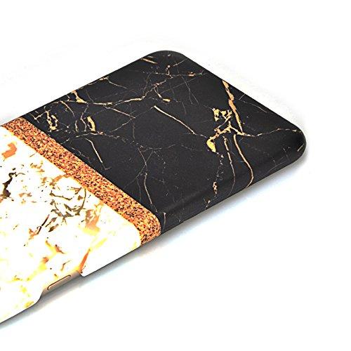 iPhone 6S Plus Hülle,iPhone 6 Plus Case,Sunroyal Cool Retro Gold Weiß Marble Marmor Ultra Dünne Slim Hart PC Case Hülle Haut Zurück prägen Bunte Malerei Pattern Schutzhülle Cover Hart Rückseite Handyt Pattern 04