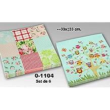 DRW - Set de 6 paquetes de 20 servilletas de papel de triple capa decoradas con