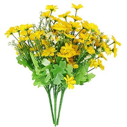 WINOMO 3 unids Artificial Silvestre Flores de Crisantemo Simulación de Seda Daisy Bouquet Planta Paquete para la Decoración Del Patio Jardín de la Oficina en casa (Amarillo)