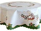 Tischdecke WEIHNACHTEN rund 135 cm Weiß Bunt Winterland pflegeleicht
