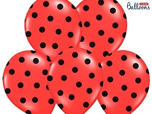 12 palloncini lattice 30 cm rosso pois neri decorazione compleanno