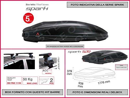 Proposteonline portabagagli Box Tetto Auto 177 x 93 x 37 cm per Smart forfour 2014 > con Barre Portapacchi portatutto vc91dn