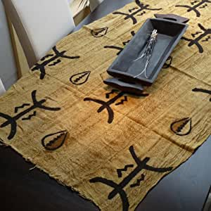 "Table Chiffon ""Mali Nappe africaine coquillages et symboles"""