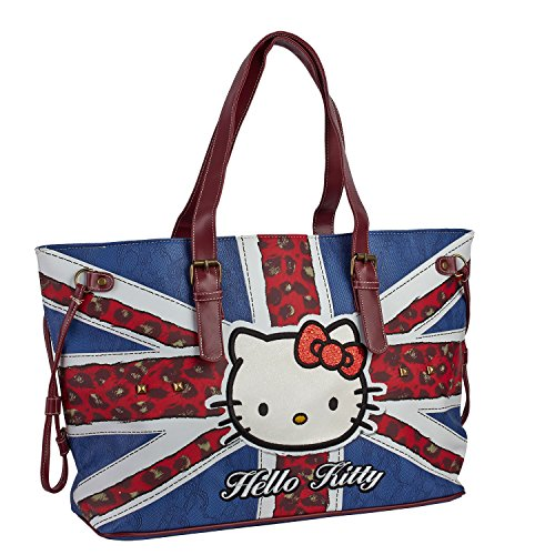 Hello-Kitty-45325-Borsa-Donna-A-Spalla-Fantasia-Bandiera-Inghilterra-E-Borchie-In-Metallo
