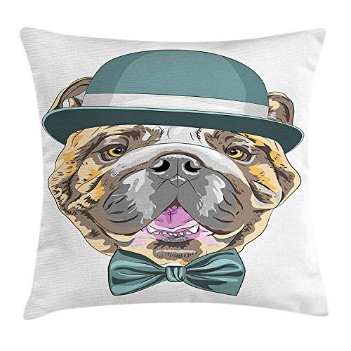 English Bulldog Throw Pillow Cushion Cover, Dog in a Hat and Bow Tie Animal Design with Formal Attire Pure Breed, Decorative Square Accent Pillow Case, 18 X 18 inches, Teal Brown Pink -