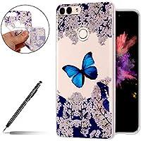 Schutzhülle Huawei Honor 9 Lite Silikon Hülle Handy Tasche Ultra Dünne Silikon Hülle TPU Case Crystal Clear Case Durchsichtig Transparent Weiche Crystal Kirstall Silikonhülle,Schmetterling
