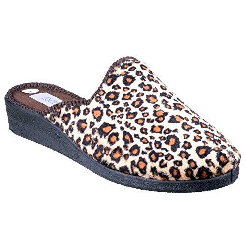 Mirak Donna Classiche Pantofole Scarpe Casa Ciabatte da Infilare Tessili Leopardo