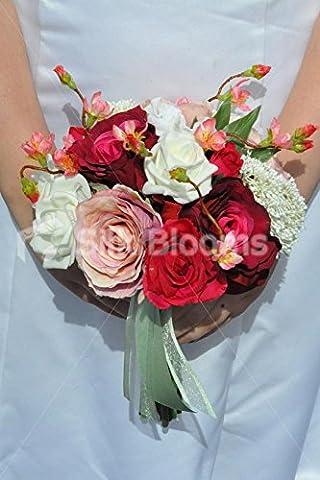 Gorgeous Künstliche Seide rosa und weiß Blumenstrauß Rose Brautjungfer mit Pink Cherry Blossom (Blume Im Knopfloch Hochzeit Korsagen)