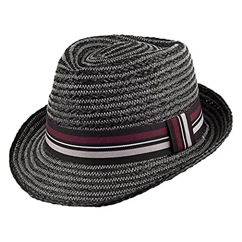 Whiteley Hats Brighton Raffia Straw Trilby - Black LARGE