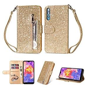 Ostop Glitzer Gold Hülle für Huawei P20,Bling Slim Reißverschluss Brieftasche Leder Handyhülle mit Kartenfach,Klappbar…