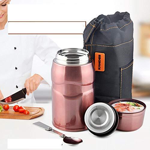 WENSISTAR Edelstahl Doppelwandig Isolier-Suppenbehälter,Edelstahl-Isolierflasche, großer Köcheltopf, tragbarer Becherkühler @ Roségold,Warmhaltebehälter für Speisen