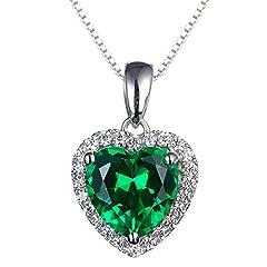 Idea Regalo - Navachi     Placcato oro Cuore   verde Smeraldo artificiale