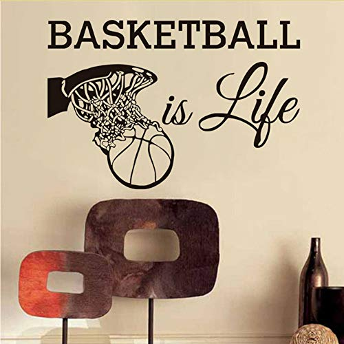 l Ist LebenWandtattoos Sport Fans VinylAbnehmbare Wohnkultur Basketball In DenKorb Wandaufkleber Für Jungen 86 * 58 Cm ()