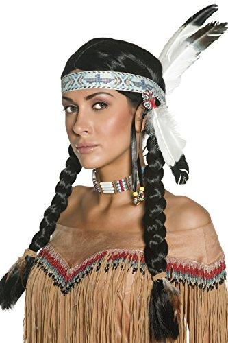 Smiffys Damen Indianerin Perücke mit Zöpfen, Perücke mit Kopfschmuck, Schwarz, One Size, (Kopfschmuck Indianer Kostüm Mit)