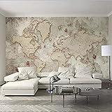 hhlwl Custom Autoadhesivo Impermeable Lienzo Mural Papel pintado 3D Retro Mapa del mundo Estilo europeo Decoración para el hogar Pintura de pared Pegatinas de pared-350cmx255cm