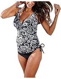 b3e7a7bd84 Hibote Maternity Tankinis Swimsuit, Women's Pregnancy Plus Size Halter  Black Floral Swimsuit