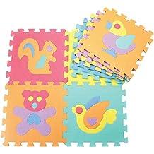 Alfombra de goma EVA para niños. Puzzles en cada pieza. 90 x 90 x 1 cm. Diseños de animales.