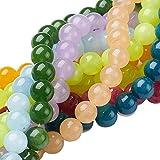 NBEADS 10 fili di 8mm colori assortiti perle di giada bianca rotonda pietra preziosa perline di fascino per fai da te collana braccialetto creazione di gioielli (48 pz / filo)