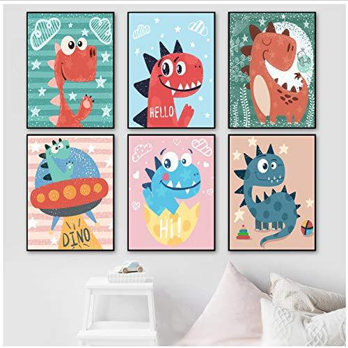 Cartoon Lustige Dinosaurier Nordic Poster Und Drucke Tier Wandkunst Leinwand Malerei Wandbilder Kinder Baby Kindergarten Wohnkultur 40x50x6 Stücke cm Kein Rahmen