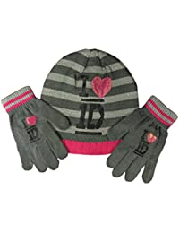 1D One Direction Warm thick Girls Hat & Gloves Set Grey one size Age 4-8 Years