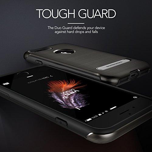 iPhone 7 Hülle, VRS Design [Duo Guard Serie] Schwerlast Militärischer Schutz mit Klappständer für Apple iPhone 7 2016 - Schwarz Titan Schwarz