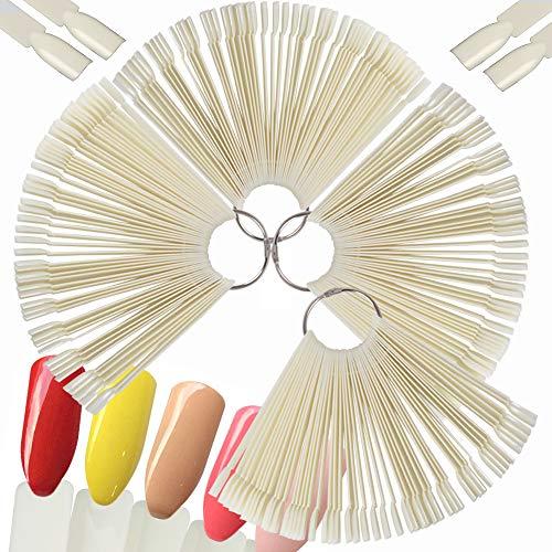 4 SET 200 PCS Nail Art Tips Stick Display Nagel Präsentation Nagelkunst Fächer Nagellack Praxis Farbpalette Nagelrad Nagelspitzen Farbfelder Karte (Natürliche Farbe) (Nagellack Der Praxis)