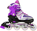 #10: VSHINE Inline Skates size adjustable all pure PU wheels, aluminum-alloy which is strong with LED flash light on wheels(Purple) size 22.5-25.3