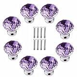 FBSHOP(TM) 8 Stück 30 mm Lila Schrankknöpfe Schubladenknöpfe Möbelknöpfe Kristall Möbelgriffe Möbelknauf Schrankgriffe für Küche Büro Schlafzimmer-Möbel,