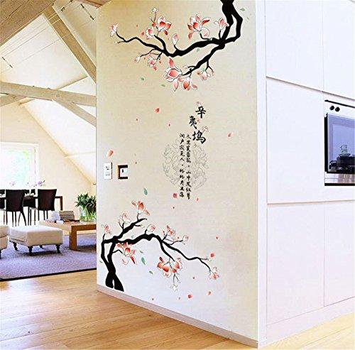 Traditionellen Stil Vinyl (ufengke Chinesischen Traditionellen Stil Magnolien Blühen Poesie Wandsticker,Wohnzimmer Schlafzimmer Entfernbare Wandtattoos Wandbilder)