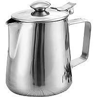 MagiDeal Tasse de Lait Mousse En Acier Inoxydable Art Pichet avec Couvercle Vaisselle Pot de Café Latte Argent