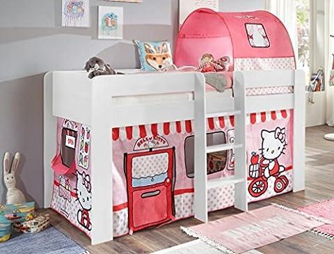 Hochbett ANDI 3 Kinderbett Spielbett halbhohes Bett Weiß Stoffset Hello Kitty