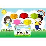 Mehrfarbig -50 Chirurgische Masken für Kinder - 3-lagige Einwegmasken - CE-gekennzeichnet - Typ II - Norm EN14683:2019-3 Wind